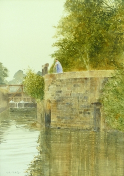 'Lock Keeper, Tinteniac, Brittany' 37 x 27 cm